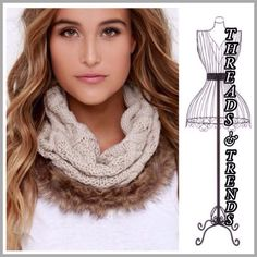 Woven Knit Faux Fur Infinity Scarve Gorgeous and unique knit infinity scarf featuring faux fur accent. Colors Ivory or grey. Wear the scarf with the fur up around your face or with fur down over your chest. Super chic new look for winter 2015/2016 modeled photos are examples of how to wear these scarves. Threads & Trends Accessories Scarves & Wraps