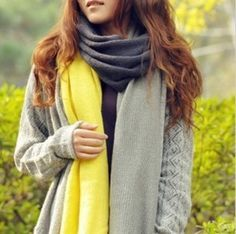 Long Color Block Knitted Scarf