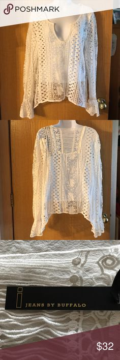 i Jeans By Buffalo Lace Top, Size Medium This top is brand new with tags. It is long  sleeve and very see through. i jeans by Buffalo Tops