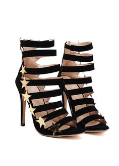 Black Suede Straps Design Stars Details High Heel Sandals _Women High Heels_Women Shoes_Sexy Lingeire | Cheap Plus Size Lingerie At Wholesale Price | Feelovely.com