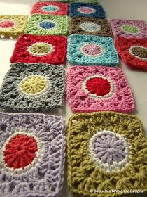 colour in a simple life: Granny's Gone Dotty Square - Patchworkdecke Sitricken Crochet Motifs, Crochet Blocks, Crochet Squares, Crochet Granny, Crochet Stitches, Granny Squares, Love Crochet, Crochet Crafts, Crochet Yarn