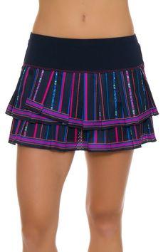 Lucky In Love Women's Athena Colosseum Pleat Tier Tennis Skirt LIL-CB190-227401 | Blue tennis skirt
