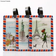 PVC World architecture fashion personality baggage claim luggage tags,Bag Parts & Accessories for Travel ,3 stye for choose