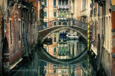 Memories of Venice by AlexanderBluvshtein  city street water boat reflection river travel europe italy urban architecture bridge building venic