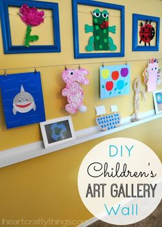 Fun idea for how to create a DIY Children's Art Gallery Wall for all those cute kids crafts.