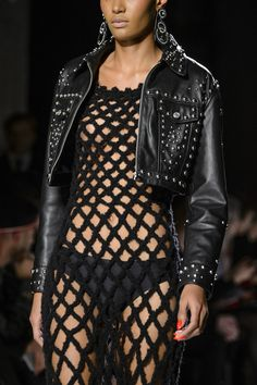 Jeremy Scott at New York Fall 2017 (Details) - This image reminds me of the fish net top that Ziggy stardust wore minus the rips and tears
