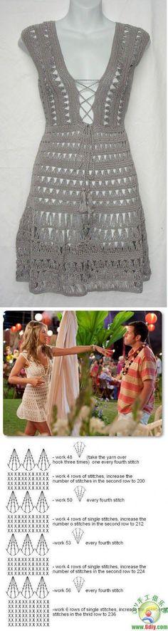 I vestiti all'uncinetto sono alla moda anche nel modo delle celebrieties. In questo post trovate lo schema del vestito all'uncinetto che h...