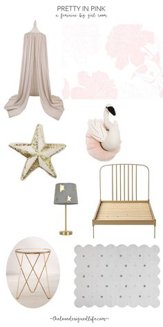 dreamy pink white and gold big girl room inspo   thelovedesginedlife.com