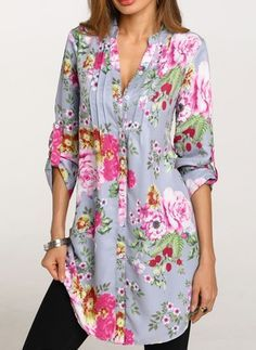 Plus Size Womens Tops and Blouses Autumn 2018 Ladies Top Vintage Floral Print Long Sleeve Long Blouse Woman Clothes Vintage Tops, Vintage Floral, Blouses For Women, Ladies Blouses, Women's Blouses, Blouse Outfit, Tunic Blouse, Mode Hijab, Blouse Designs