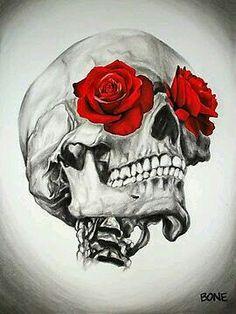 Drawing Eyes Rose Eye Skull Canvas Print - Original charcoal and watercolor artwork by Chicago area artist Jessica Bone Totenkopf Tattoos, Estilo Rock, Skulls And Roses, Watercolor Artwork, Skull Tattoos, Memento Mori, Belle Photo, Dark Art, Bones