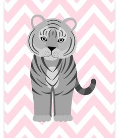 Tiger Nursery Decor, Tiger Wall Art, Zoo Nursery Decor, Grey and Pink, Zoo Wall Art, Baby Zoo Decor, Gender Neutral, Baby Girl, Baby Boy by SweetPeaNurseryArt on Etsy