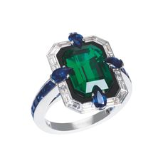 « Liberty, taking the world in its concrete sense, consists in the ability to choose. » Simone Weil This ring is made of emerald, white gold, sapphire & diamonds. Enregistrer