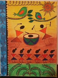 ****Title: CELEBRATION >>Its an Indian handmade tribal painting.This painting has both warli and madhubani style. >>Decorate your home with an Indian Painting, Modern Wall Decor, Art for Sale, Perfect Gift Idea. >>size: 9 x 12 x >>CANVAS: Gallery Wrapped Madhubani Art, Madhubani Painting, Diy Wall Painting, Fabric Painting, Art Drawings For Kids, Indian Folk Art, Indian Art Paintings, Art N Craft, Traditional Paintings
