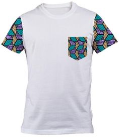 African Print T-shirt tee sleeves and pocket blue cube unisex screen printed s, m, l, xl, xxl funny t shirts African Print Shirt, African Print Dress Designs, African Shirts, African Print Dresses, African Fashion Dresses, African Dress, African Inspired Fashion, African Print Fashion, African Attire