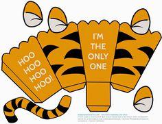 Tiger: Free Printable Popcorn Box.