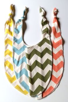 Chevron Bibs, Pick 3, Bright Colored Organic Cotton Bibs, Neutral Baby Gift. via Etsy.