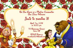 Girls Beauty and the Beast Princess Printable Birthday Party Invitation Digital Print by CozyRedHouseCreation on Etsy
