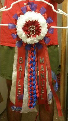 """Homecoming mum - drum major so she wanted it small. The """"b"""" in the middle is a lapel pin that she can use.  The letters are scrapbooking letters - much cheaper than the letters in the mum area.  #texashomecoming #mum #texasfootball #homecomingmum #sabinecardinals"""