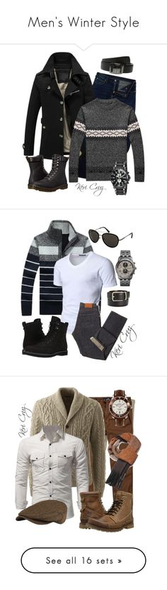 Men's Winter Style by keri-cruz on Polyvore featuring Armani Jeans, Salvatore Ferragamo, Dr. Martens, Invicta, men's fashion, menswear, Doublju, Ermenegildo Zegna, Michael Kors and Timberland