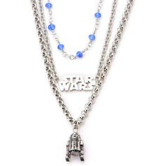 Star Wars Stainless Steel R2D2 3-Tiered Pendant Necklace ($92) ❤ liked on Polyvore featuring jewelry, necklaces, tiered necklace, pendant jewelry, long chain pendant necklace, stainless steel jewellery and stainless steel necklace pendants