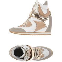 Elena Iachi Sneakers ($205) ❤ liked on Polyvore featuring shoes, sneakers, white, wedges shoes, leather wedge shoes, wedge sneakers, hidden wedge shoes and wedge trainers