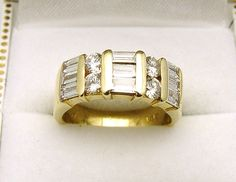 14K Yellow Gold 13 Mixed Shaped Diamonds 1.50TDW Dinner Ring - Appraised $4385 #YYJ #shoplocal