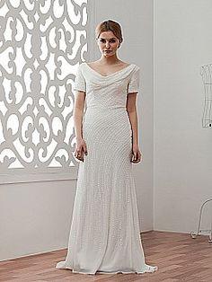 Conservative Short Sleeved V Neck Beaded Wedding Dress - USD $175.00