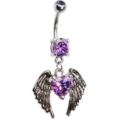 Purple Gem Winged Heart Dangle Belly Ring
