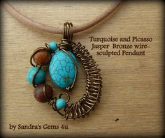 Turquoise Pendant with Picasso Jasper wirewrapped by Sandrasgems4u, $26.50