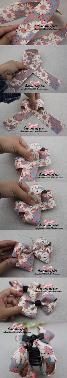 How to make a pretty bow #DIY #Crafts not for a clip but the 2 figure 8's should make it easier to make!