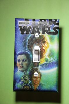 Star Wars Light Switch Plate Cover bedroom room home decor sci-fi movies Chewbacca Yoda Darth Vader Luke Skywalker Leia Han Solo by ComicRecycled on Etsy