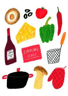 kitchen on Behance Line Illustration, Pattern Illustration, Food Patterns, Art Calendar, Food Drawing, Food Illustrations, Sticker Design, Line Art, Art Drawings