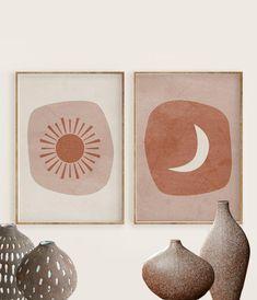 Boho Sun and Moon Print Set of 2 burnt orange Abstract art Abstract Geometric Art, Abstract Wall Art, Arte Madi, Guache, Moon Print, Framed Prints, Art Prints, Animal Nursery, Diy Wall Art