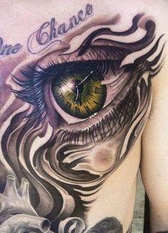 ⭐ Green Eyeball with clock tattoo. Amazing.