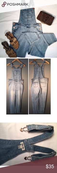 """Cherokee Overalls Preloved:  Comfy soft denim.  Can be dressed up for modern city feel or dressed down for rustic country feel.  Size XL but very slim - fits like a Size L.  Measures 32"""" waist, 28"""" inseam, 37"""" outseam and in good condition. Cherokee Jeans Overalls"""