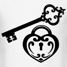 how to draw a heart lock and key