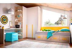 Dormitorio juvenil: Dormitorio Juvenil 203-2182015 | DormitorioJuvenilequipadocon una cama nido con base de 4 contenedores.Además cuenta con armar