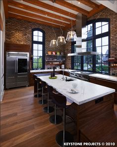 exposed brick and wood kitchen