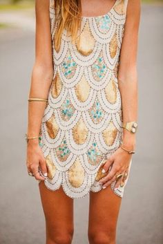 Printed sequin dress