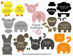 A Little Bit of Everything... : FREE Printable Farm Animal Template for Felt Board