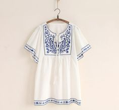 >>>Smart Deals forHot Sale White Women Ethnic Embroidered Boho Hippie Peasant Mexican Loose Gypsy Blouse Tops Free Size Free Shipping-in Dresses from Women's Clothing