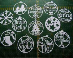 Natale carta tagliata set di modelli di 12 PDF - può essere utilizzato per fare le decorazioni e le carte, solo per uso personale