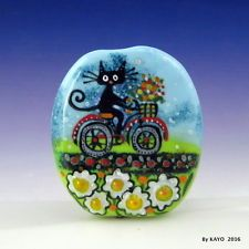 """FLOWER POWER"" byKAYO a Handmade BIKER CAT Lampwork Art Glass Focal Bead SRA"
