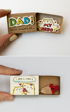 """Quirky & Cute Matchbox-Cards Help You Profess Your Love & Feelings Inspired by greeting cards, gift boxes and all things miniature, these tiny """"cards"""" are handmade from real matchboxes at the. Cute Happy Birthday, Birthday Diy, Happy Birthday Cards, Birthday Gifts, Homemade Gifts For Mom, Diy Gifts For Friends, Matchbox Crafts, Matchbox Art, Cute Crafts"""