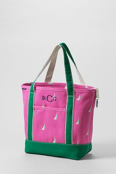 6ebbbc4756a6 Fandango Pink Sailboats Medium Open Top Tote from Lands  End