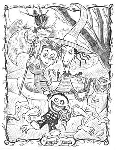 Nightmare Before Christmas coloring page. ~400x500px, printable to a full size if stretched. Direct link to image, source was a sketchy coloring page site. Lock, Shock, Barrel. A nicely detailed page.
