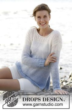 "Sailing - Jumper with rib and vent in the side 1 strand ""Alpaca"" and 2 strands ""Kid-Silk"". Free #knitting Pattern"
