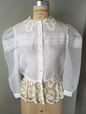 Vtg. Joan Leslie Sz S/M Ivory Polyester Sheer Lace Bottom Blouse