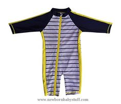 Baby Boy Clothes SwimZip¨ Little Boy Long Sleeve Sunsuit with UPF 50 Sun Protection Yellow 6-12 Month