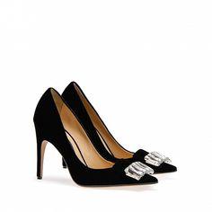 Sergio Rossi - 90 Bejewelled pointed court shoe in exclusive black velvet Denim Pumps, Black Suede Pumps, Black Heels, High Heels, Sergio Rossi Boots, Sr1, Rossi Shoes, Court Shoes, Discount Shoes